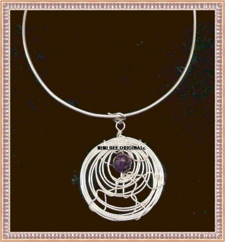 Signed Studio Sterling Silver Amethyst Necklace Pendant