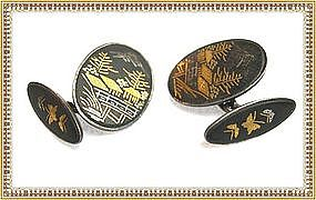 Vintage Signed Silver Japanese Damascene Cufflinks