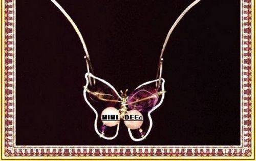 Signed Mimi Dee Studio Sterling Butterfly Necklace Ametrine Rose