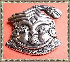 Vintage Mexico Sterling Silver Face Pin Man Mask Idol Bird
