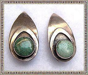 Vintage Sterling Silver Carlos Diaz Turquoise Earrings Clip On