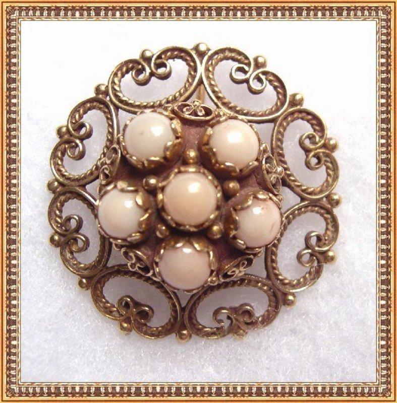 Vintage 14K Gold Angel Skin Coral Round Pendant Pin Brooch