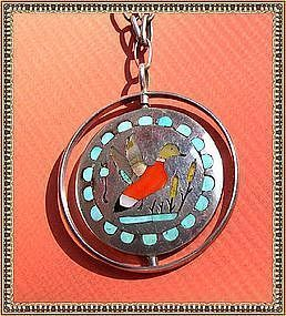 Mystery Mark Reward Vintage Signed NA Silver Zuni Spinner Necklace