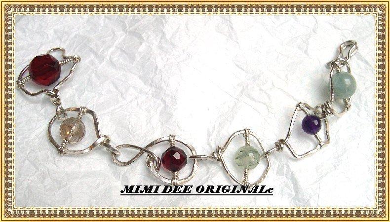 Signed Studio Sterling Silver Multi Gem Amethyst Hammered Bracelet