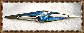 Vintage Signed Thomae Sterling Blue Bird Enamel Pin