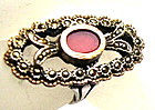 Vintage Art Deco 835 Silver Ring Marcasite Carnelian