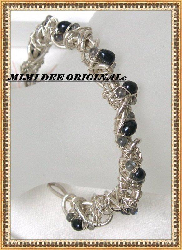 Signed Studio Sterling Silver Bypass Bracelet Cuff Gems