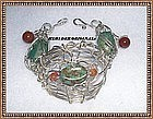 Signed Studio Sterling Silver Metal Sculpture Bracelet