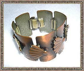 Vintage Copper Rebajes Bracelet Fan Motif Signed Links