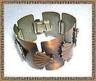Vintage Copper Modernist Rebajes Bracelet Fan Motif Signed Links