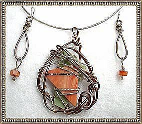 Signed Hammered Copper Sterling Slag Glass Necklace Set