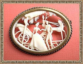 Vintage French Depose Celluloid Pin Victorian Scene