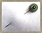 Vintage Edwardian Peacock Eye Art Glass Stick Pin