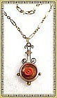 Victorian Gold Lavalier Carved Coral Rose Banjo Pendant Necklace