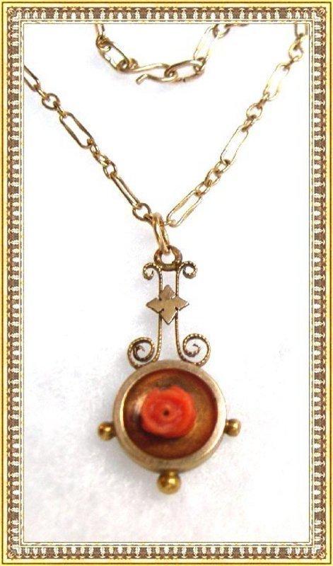 Victorian Gold Lavalier Carved Coral Rose Banjo Pendant Necklace