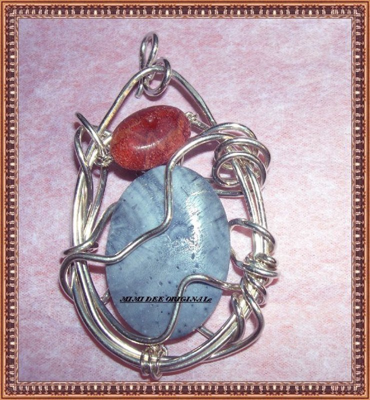 Signed Studio Handwrought Sterling Pendant Blue Coral