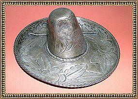 Vintage Sterling Silver Signed L. Maciel Sombrero Dish