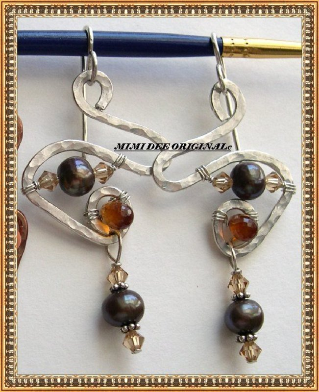 Signed Studio Hammered Sculptured Earrings Duo Copper