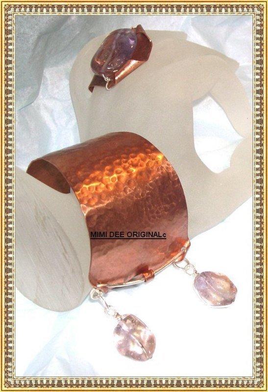 Signed Studio Handwrought Hammered Copper Sterling Bracelet