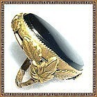 Vintage Signed Orlando Brass Ring Black Glass Foliate Knuckle