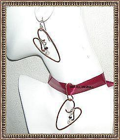 Signed Hammered Copper Sterling Heart Pendant Ear Set