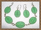 Vintage Etched Green Glass Sterling Silver Bracelet Set