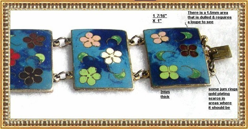 Vintage Cloisonne Rectangle Link Bracelet Flower Power
