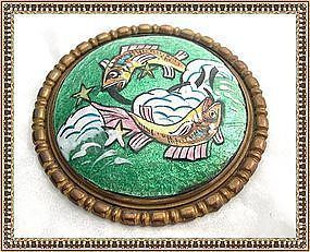 Vintage Signed French Limoges H P Enamel Pices Fish Pin