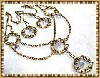 Victorian Inspired Festoon Necklace Alexandrite Color Glass