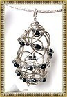 Signed Studio Sterling Silver Sculpture Pendant Pearls