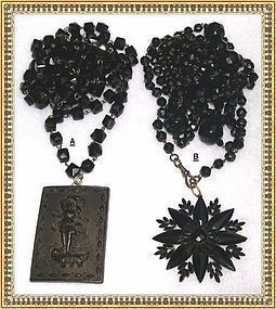 Vintage Victorian Black Glass Muff Chain Necklace - Choice