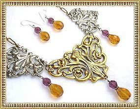 Big Bold Necklace Victorian Art Nouveau Style Bib Ear Set