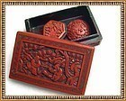 Vintage Lg. Cinnabar Floral Button Red Carved Lacquer Box Clip Lot