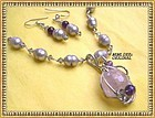 Signed Necklace Ear Pend Silver Set Lavender FW Pearls