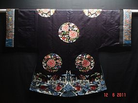 Antique Chinese Embroidered dark  blue Silk Surcoat
