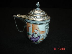 Antique Chinese Export Porcelain and 900 Silver Lamp