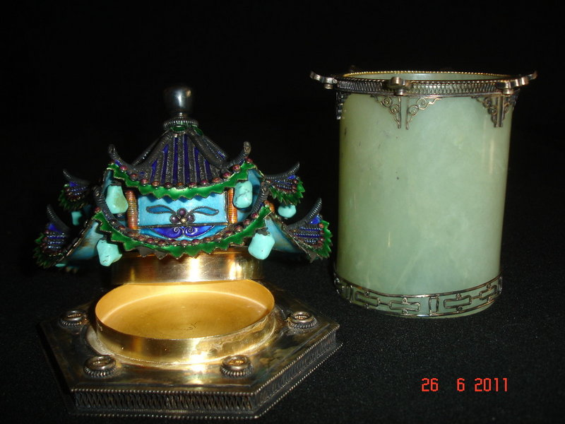 Unique silver, celadon jade, enameled Chinese pagoda