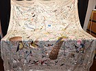 Large antique Chinese embroidered silk tapestry