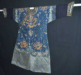 Antique Chinese silk embroidered dragon robe, 19th C