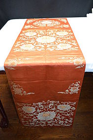 Antique Chinese embroidered silk tapestry, chair cover