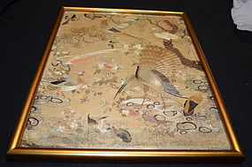 Antique Chinese Cantonese embroidered silk tapestry