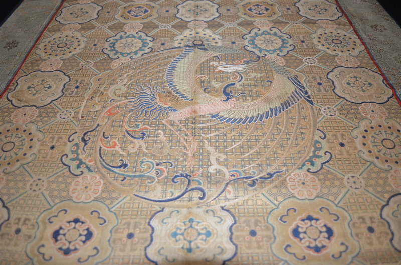 Antique Chinese silk brocade with phoenix roundel panel