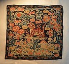 Antique Chinese silk embroidered military rank badge