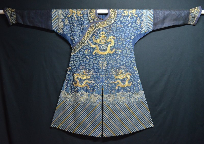 Antique Chinese embroidered summer dragon silk robe
