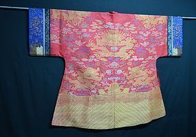 Antique Chinese dragon silk robe w/ embroidered sleeves