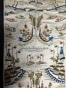 Antique Chinese robe sleeve bands embroidered silk - forbidden stitch