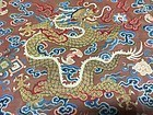 Antique Chinese Qing prince's dragon robe panel - Details