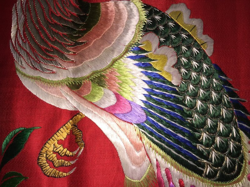 Antique Chinese embroidered silk wedding wall hanging - Phoenixes