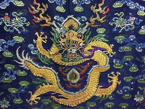 Antique Chinese embroidered summer dragon silk robe - Jifu - Details