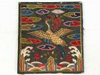 Antique Korean silk embroidered civil rank badge, Hyungbae, Crane, 19c